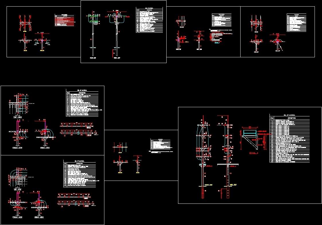 22 Kv Pole Structures Dwg Block For Autocad Designs Cad