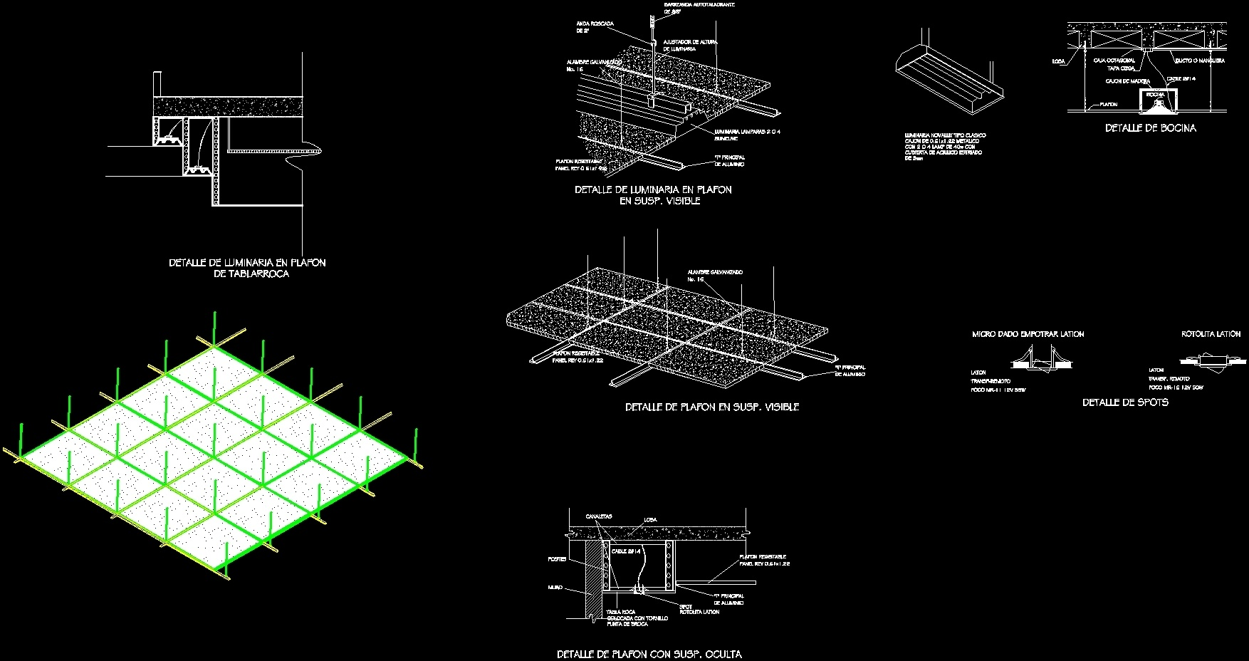 Detaillights in suspended ceilings dwg section for autocad for Detalles dwg