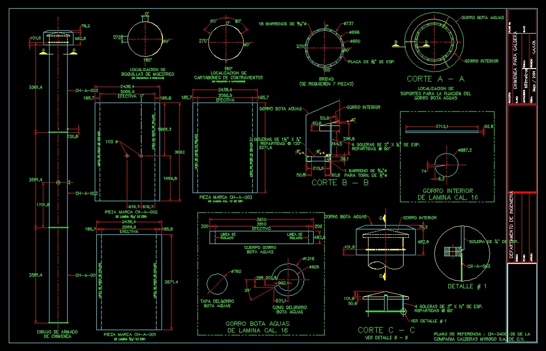 boiler chimney constructive details dwg detail for autocad
