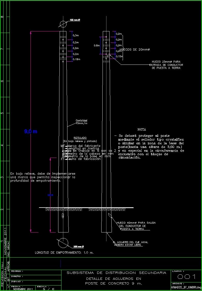 Concrete Pole 9 M Dwg Detail For Autocad Designs Cad