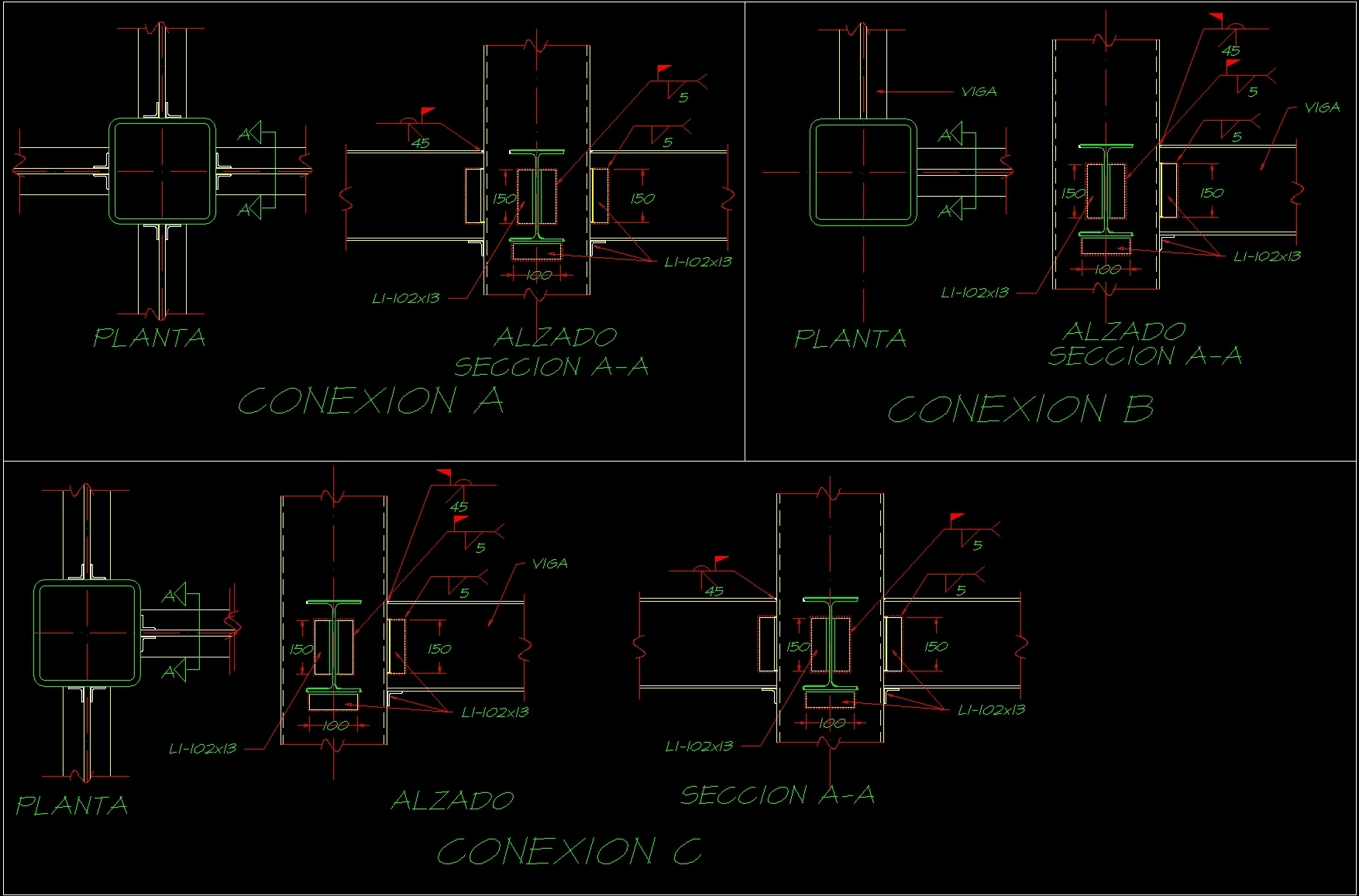Connection Beam Columns Dwg Detail For Autocad Designs Cad