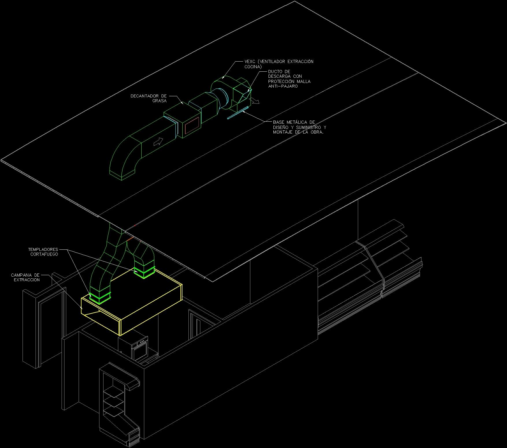 Industrial Kitchen Autocad Blocks: Industrial Kitchen Exhaust System Fat Extractors DWG
