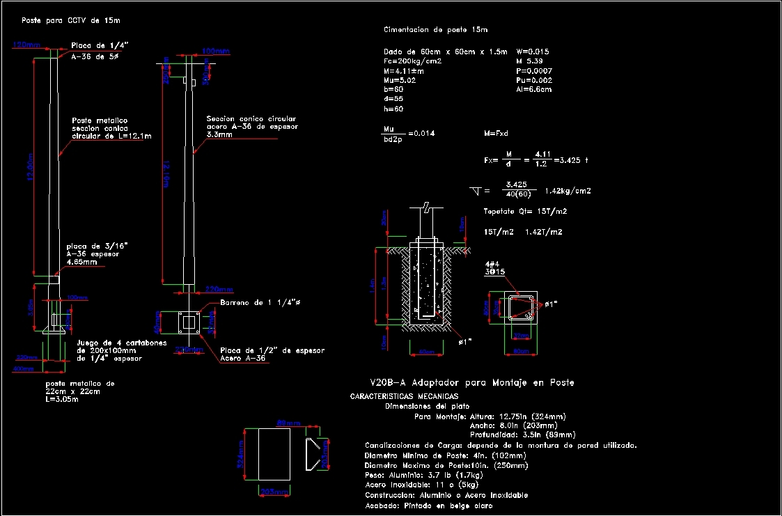 Detail Post For Cctv 15 Metros Dwg Detail For Autocad