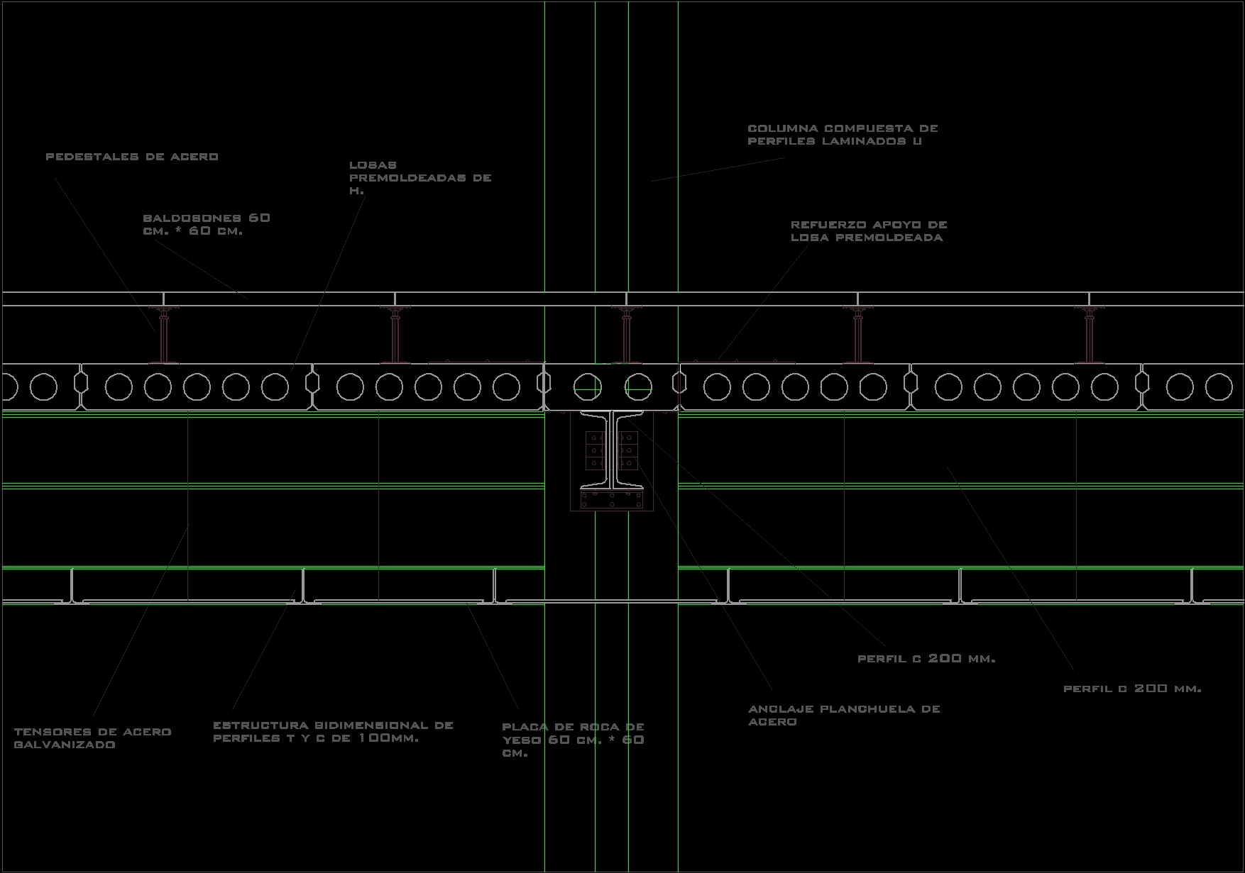 Suspended ceiling drawings for Piso tecnico detalle