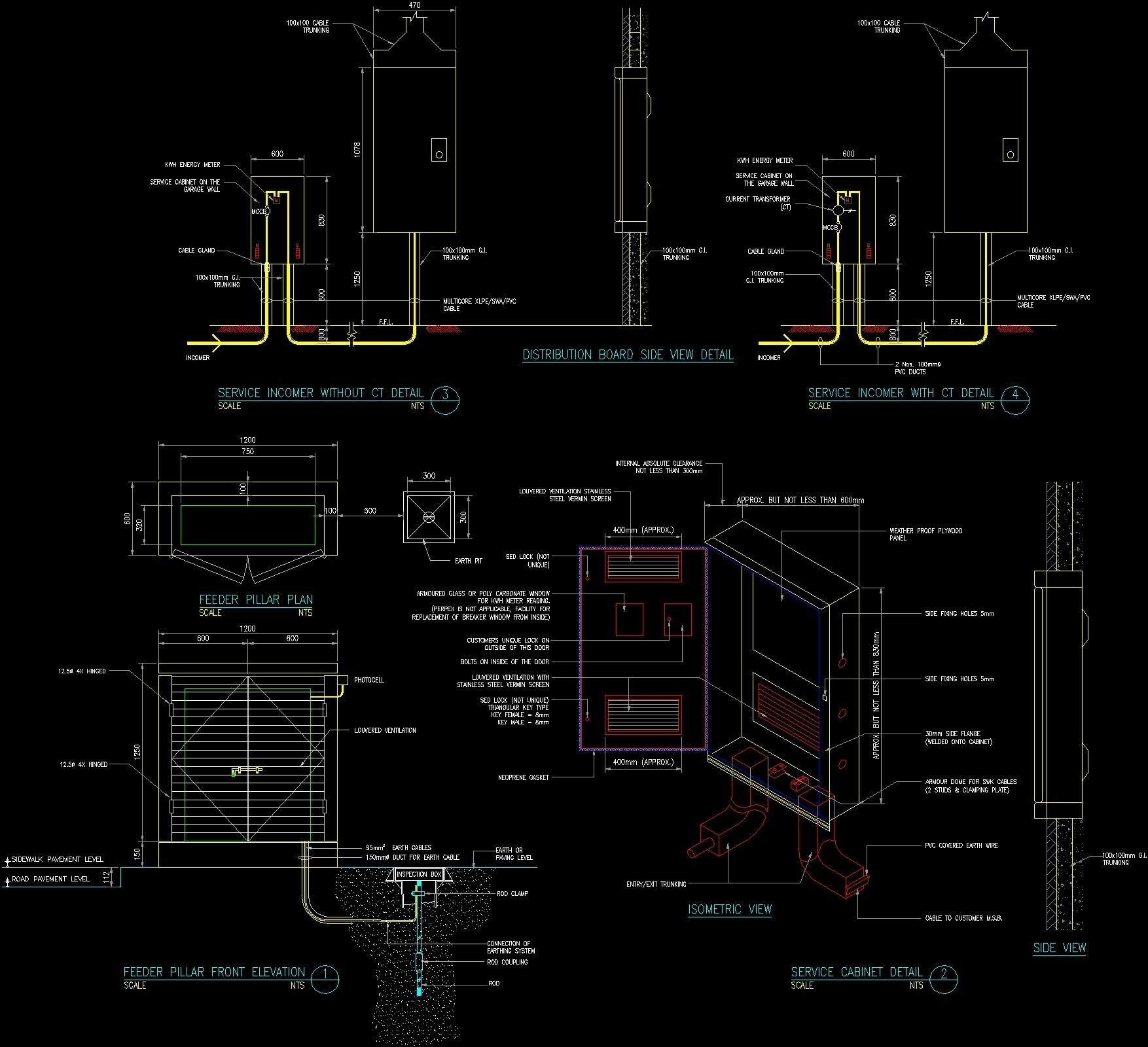 Distribution Board Side View Detail Dwg Detail For Autocad
