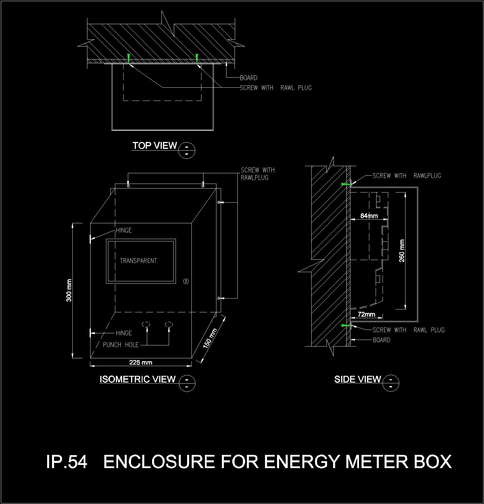 electric meter box 2d dwg plan for autocad designscad. Black Bedroom Furniture Sets. Home Design Ideas