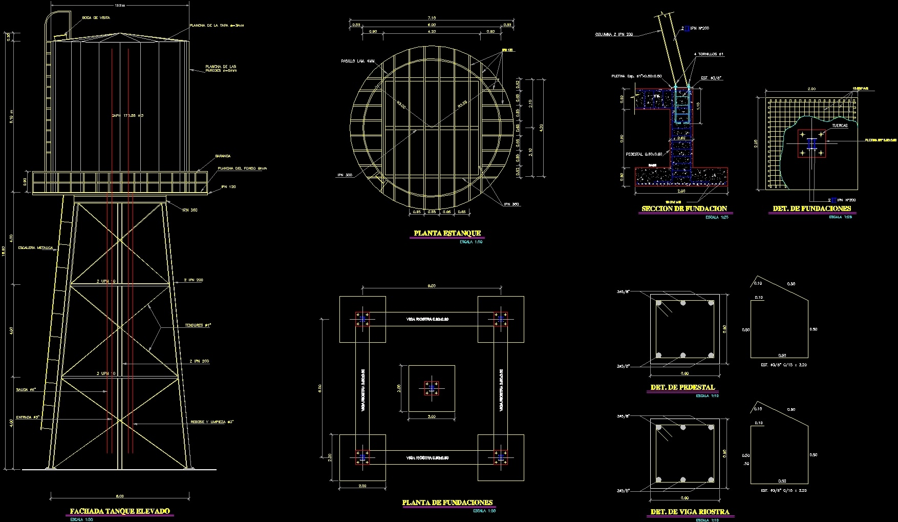 Elevated Tank DWG Detail for AutoCAD