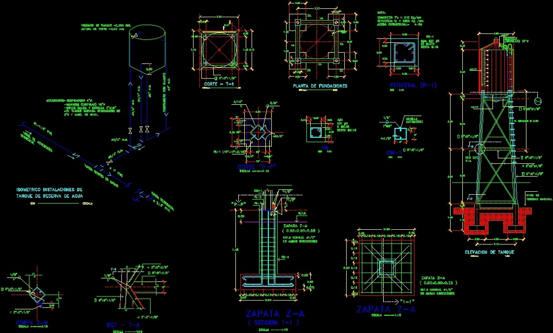 Elevated Water Tank 10 000 Gl Dwg Plan For Autocad