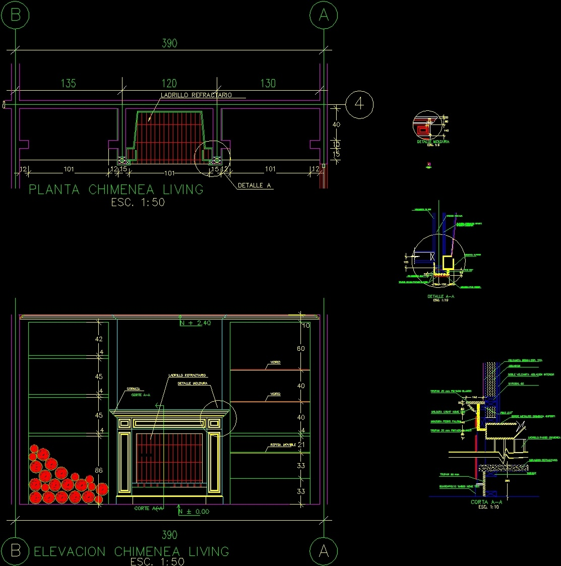 fireplace stove  u2013 construction details dwg detail for