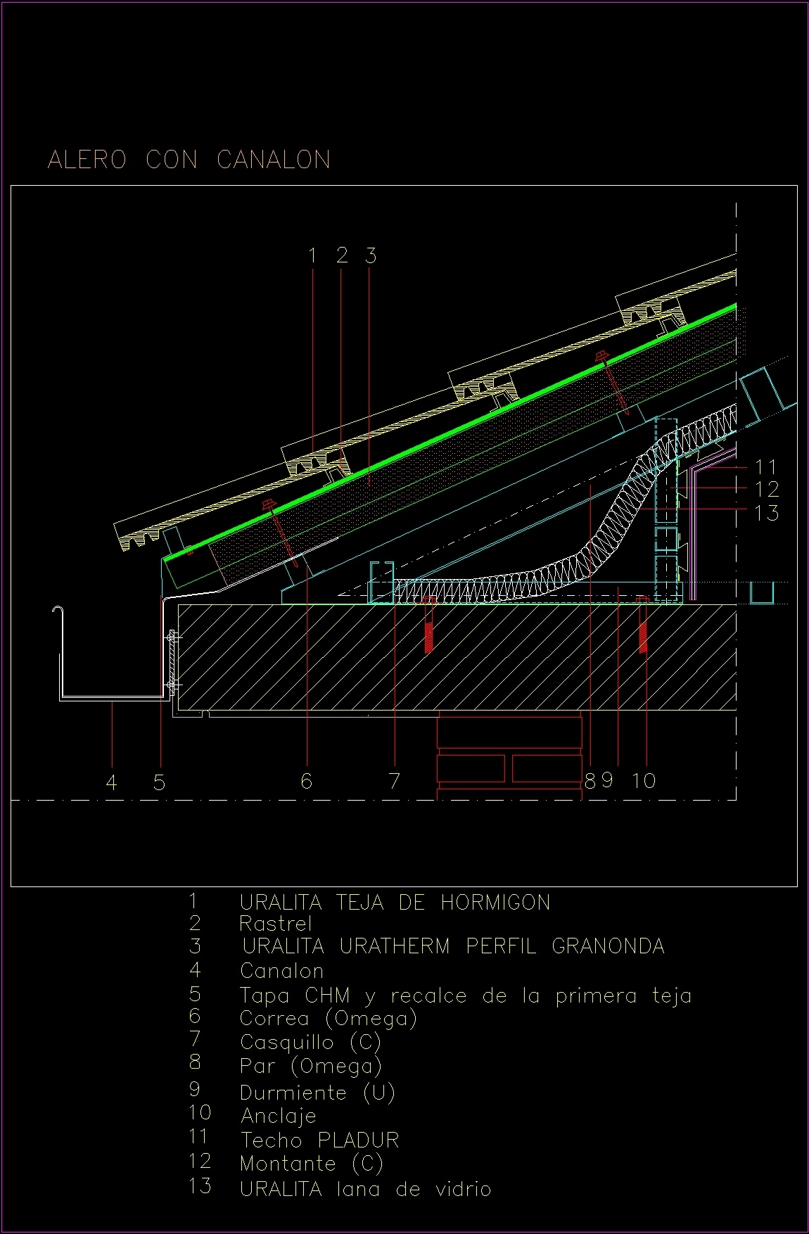 Inclined Roofs Of Concrete Tiles Dwg Detail For Autocad