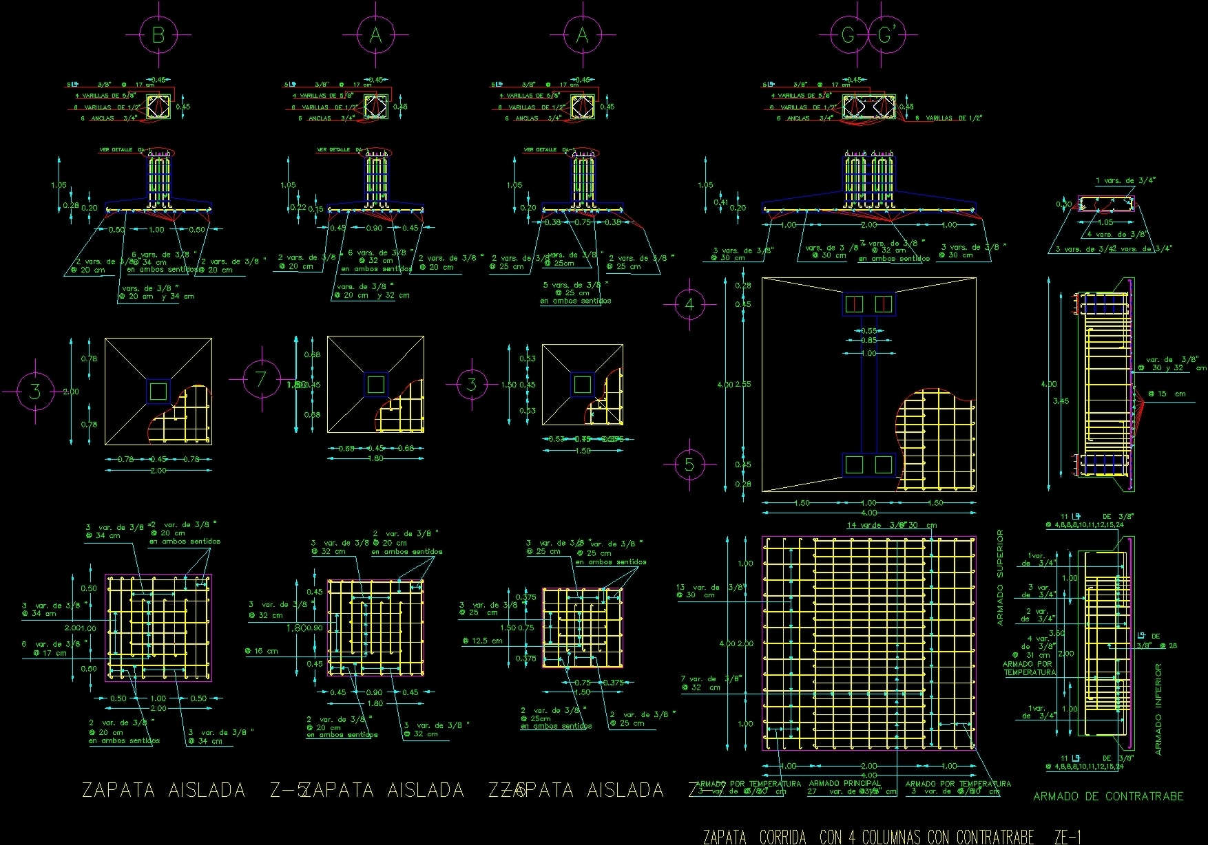 Isolated Footing In Armed Concrete DWG Section for AutoCAD