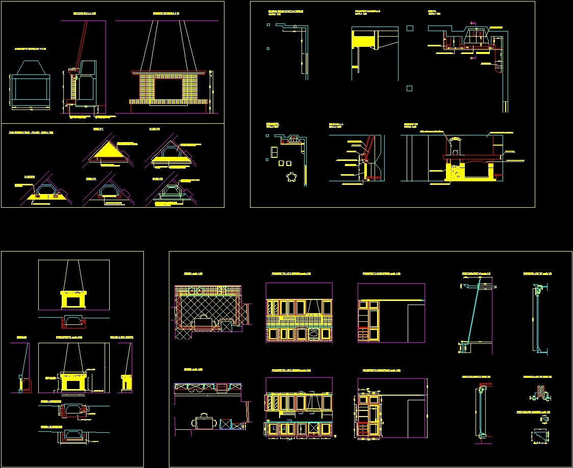 Kitchen And Fireplace Stove Details Dwg Detail For Autocad Designs Cad