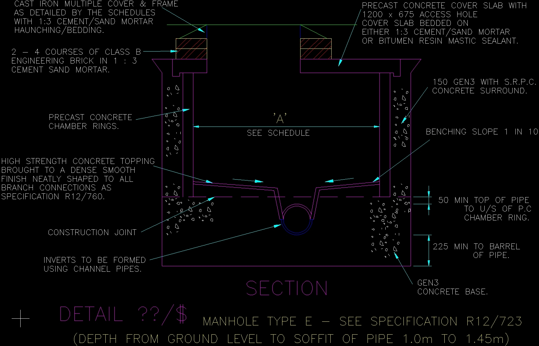 Drawing Smooth Lines In Autocad : Manhole dwg detail for autocad u designs cad