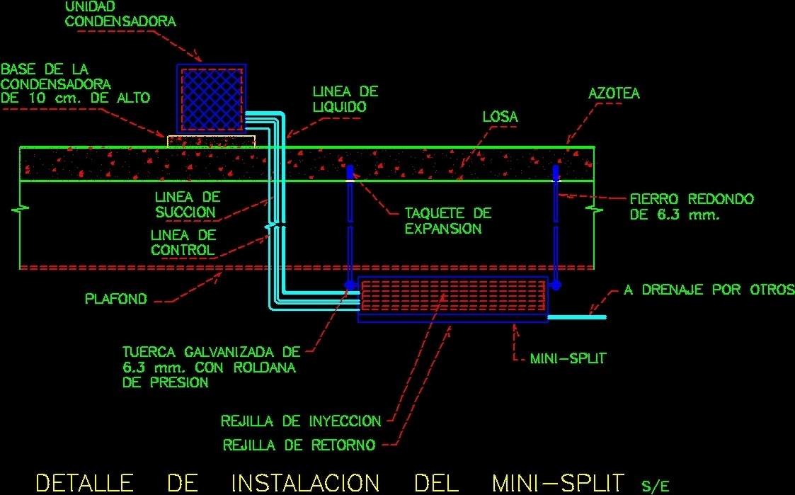 Mini Split Installation Detail Dwg Detail For Autocad
