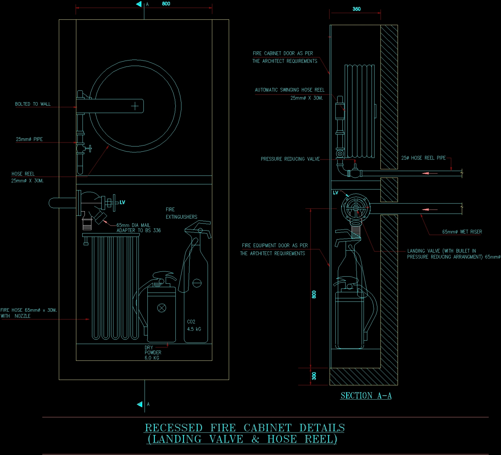 Electrical Plan Recessed Fire Cabinet Dwg Detail For Autocad Designs Cad