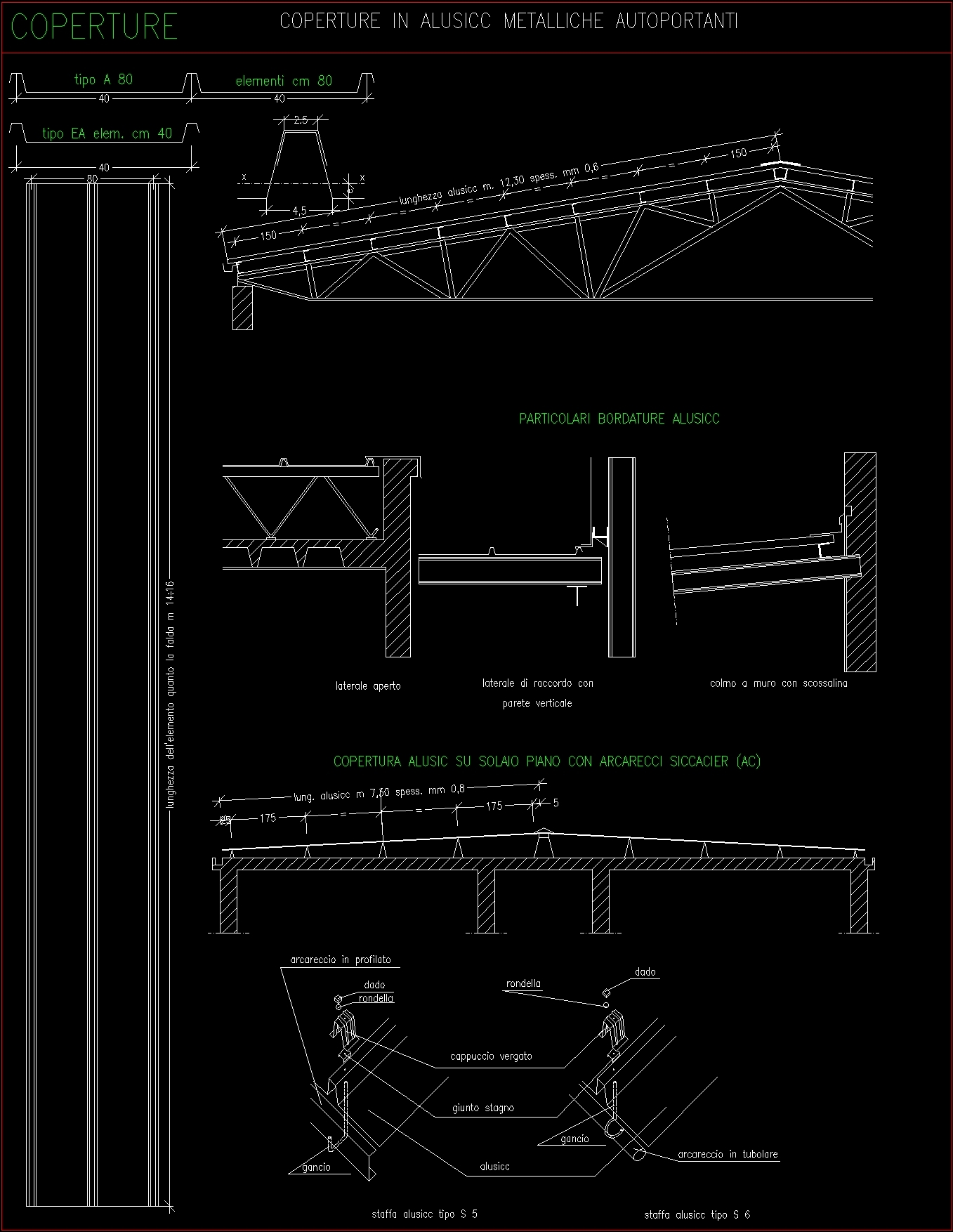 Roof and structure in aluminum plate car amble dwg detail for Strutture metalliche dwg