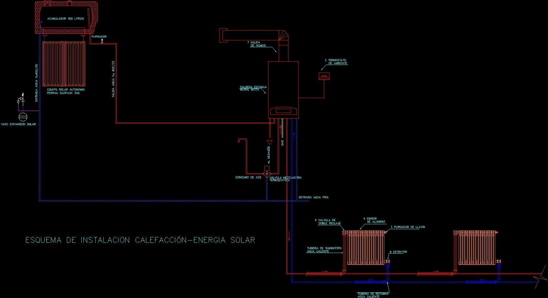 Scheme Type Of Solar Heating Dwg Block For Autocad