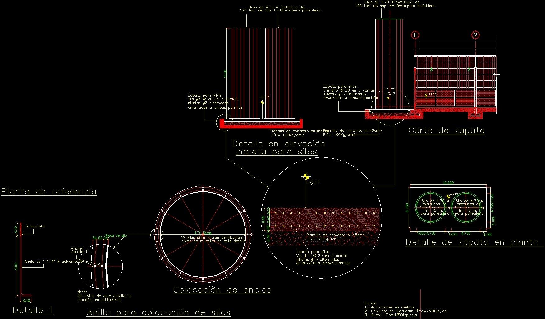 Silos Foundation Dwg Block For Autocad Designs Cad