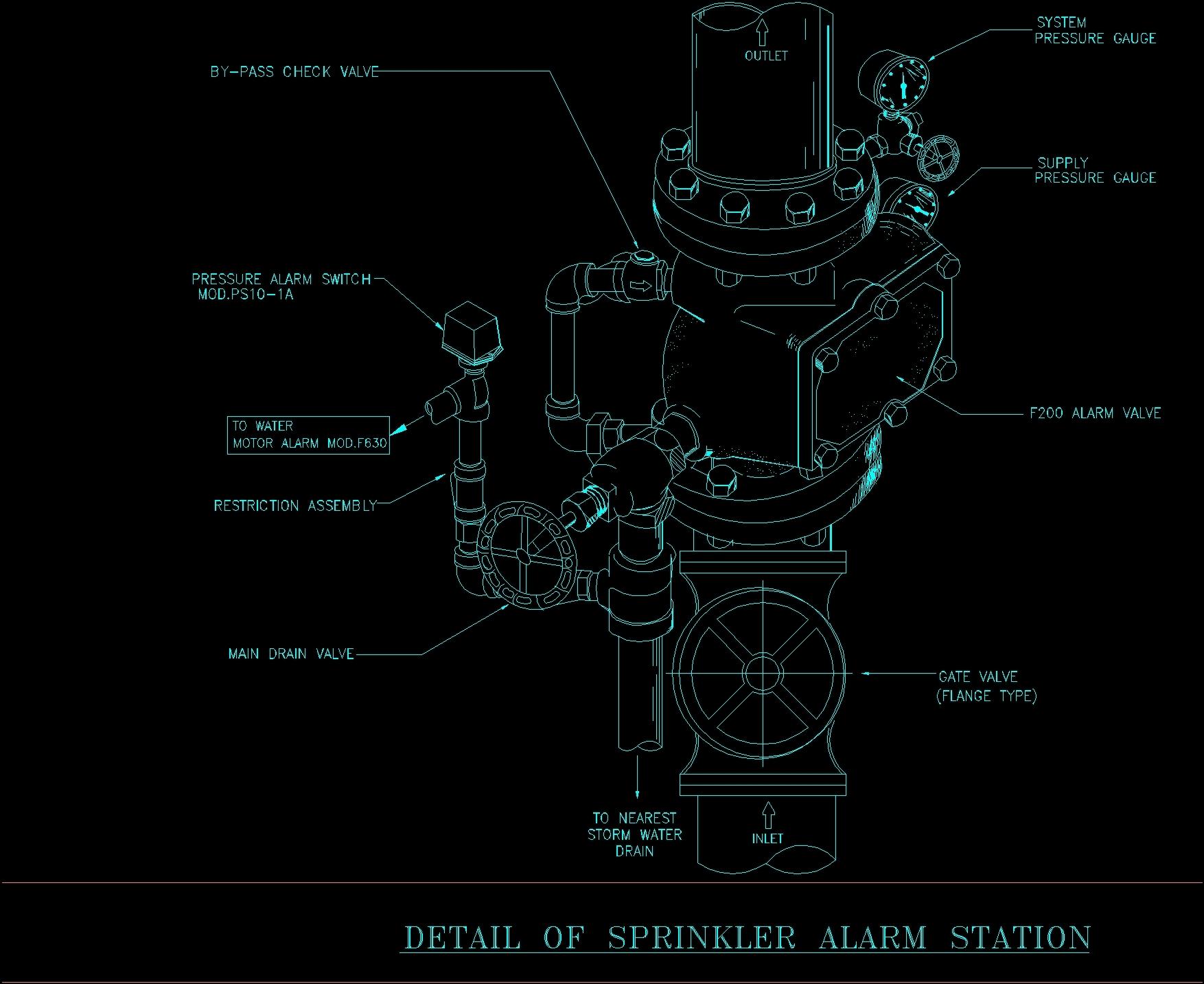Sprinkler Alarm Station Dwg Detail For Autocad Designs Cad Gate Diagram Additional Screenshots