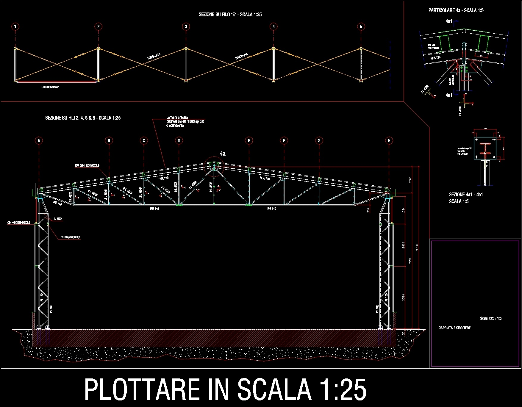 Steel Roof Truss Columns Braces Dwg Detail For Autocad