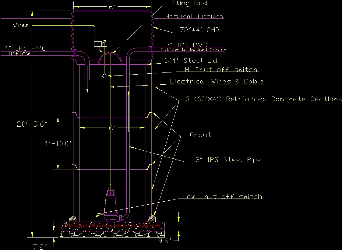 Sump Pump Housing Drainage Dwg Block For Autocad