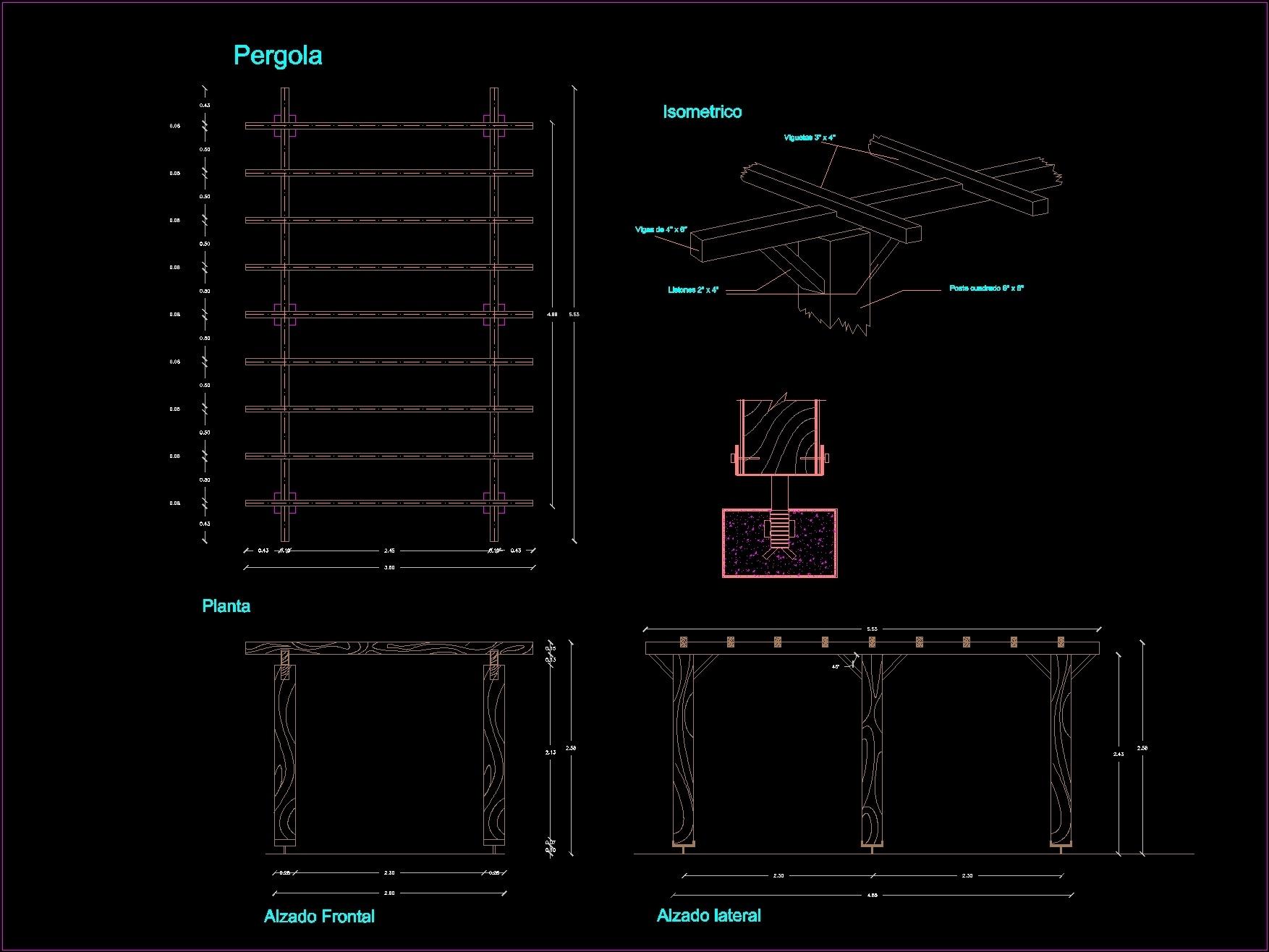 wooden pergola dwg block for autocad designscad