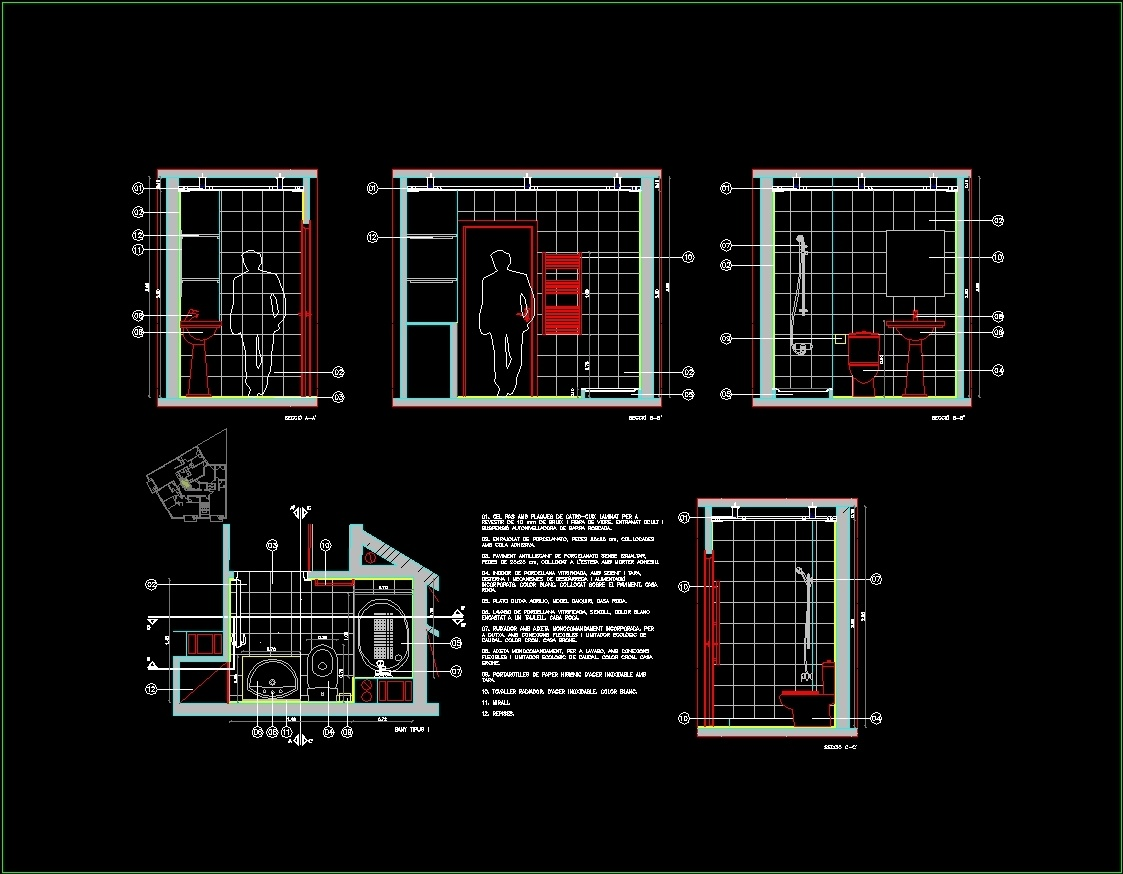 Bathroom details dwg section for autocad designs cad for Radiador dwg