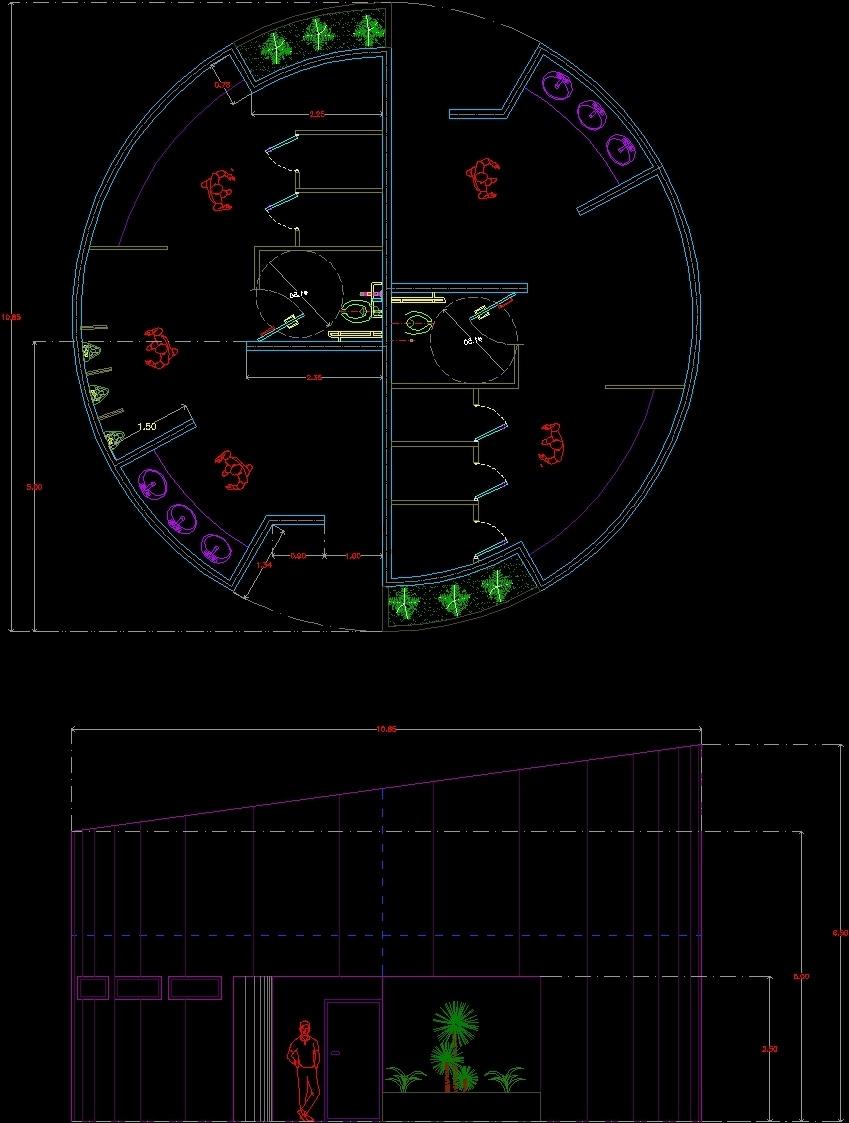 Salle De Bain Lumineuse Design ~ Circular Bath Dwg Plan For Autocad Designs Cad