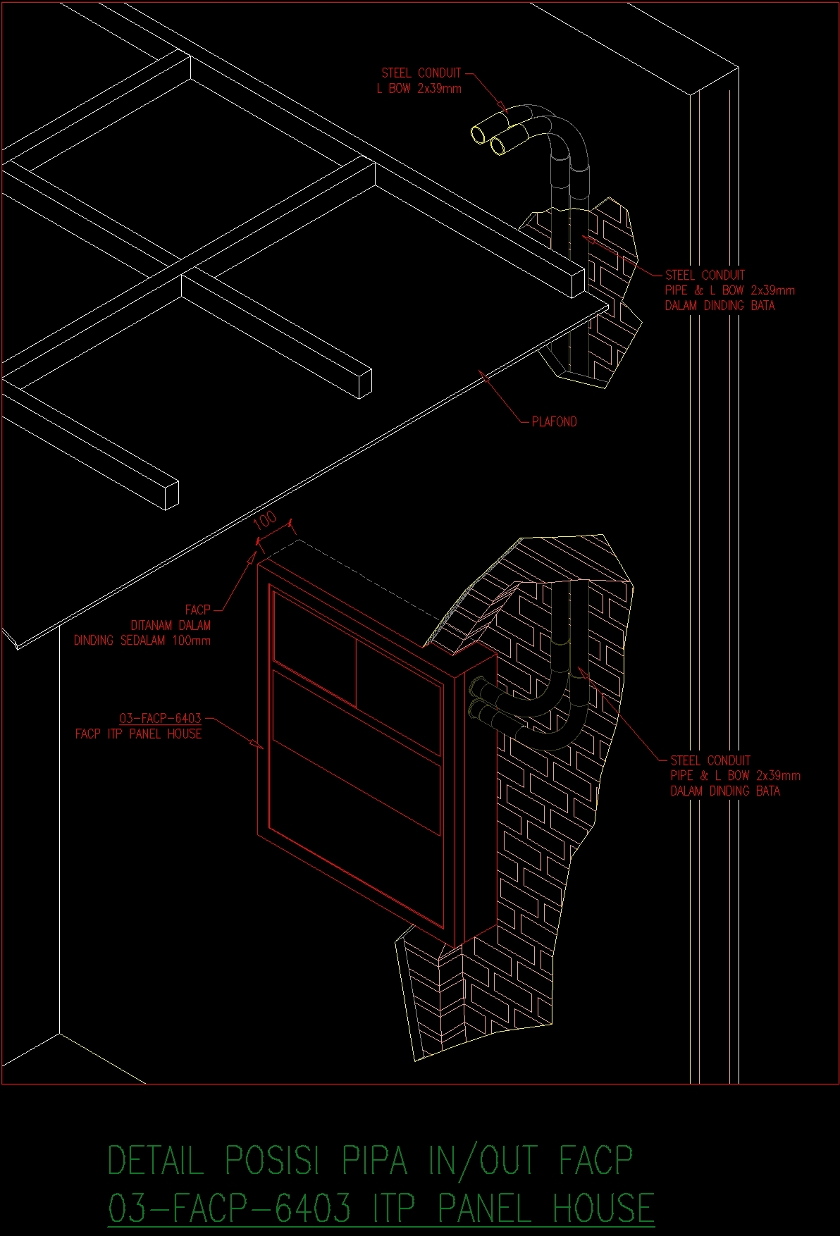 Detail Installation Fire Alarm Panel DWG Detail for AutoCAD