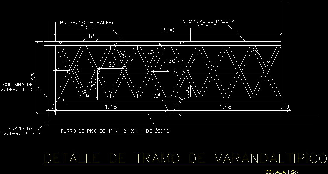 Detail Of Railing DWG Detail for AutoCAD