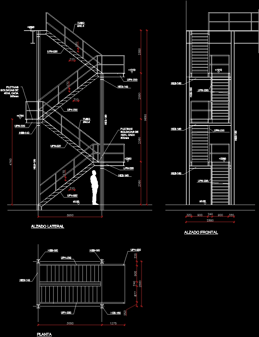 Front Elevation Double Story House : Detail of stairs dwg for autocad designs cad