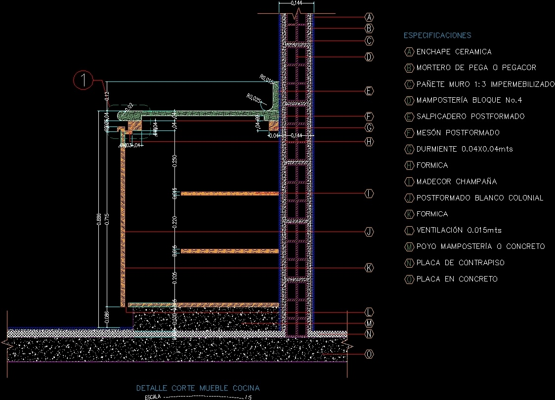 Detail Section Of Kitchen Furniture Dwg Section For Autocad