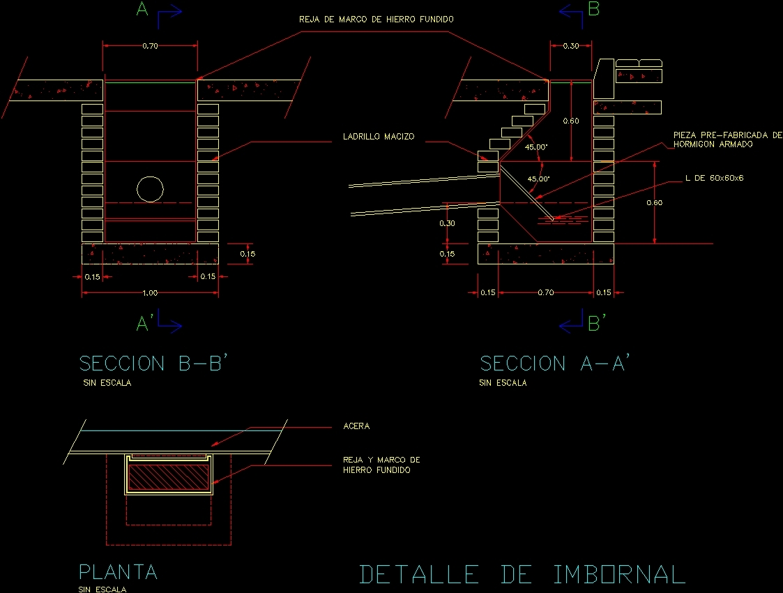 Detail sewer inlet dwg section for autocad designscad for Detalles autocad