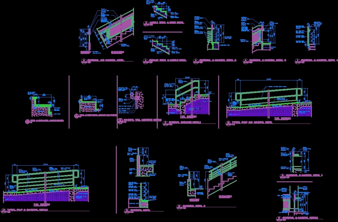 Details Of Stairs And Ramp DWG Detail for AutoCAD