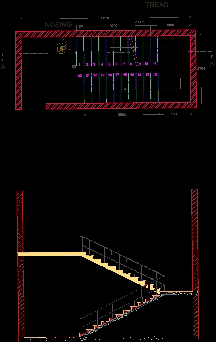 Dogleg Staircase Dwg Detail For Autocad Designs Cad