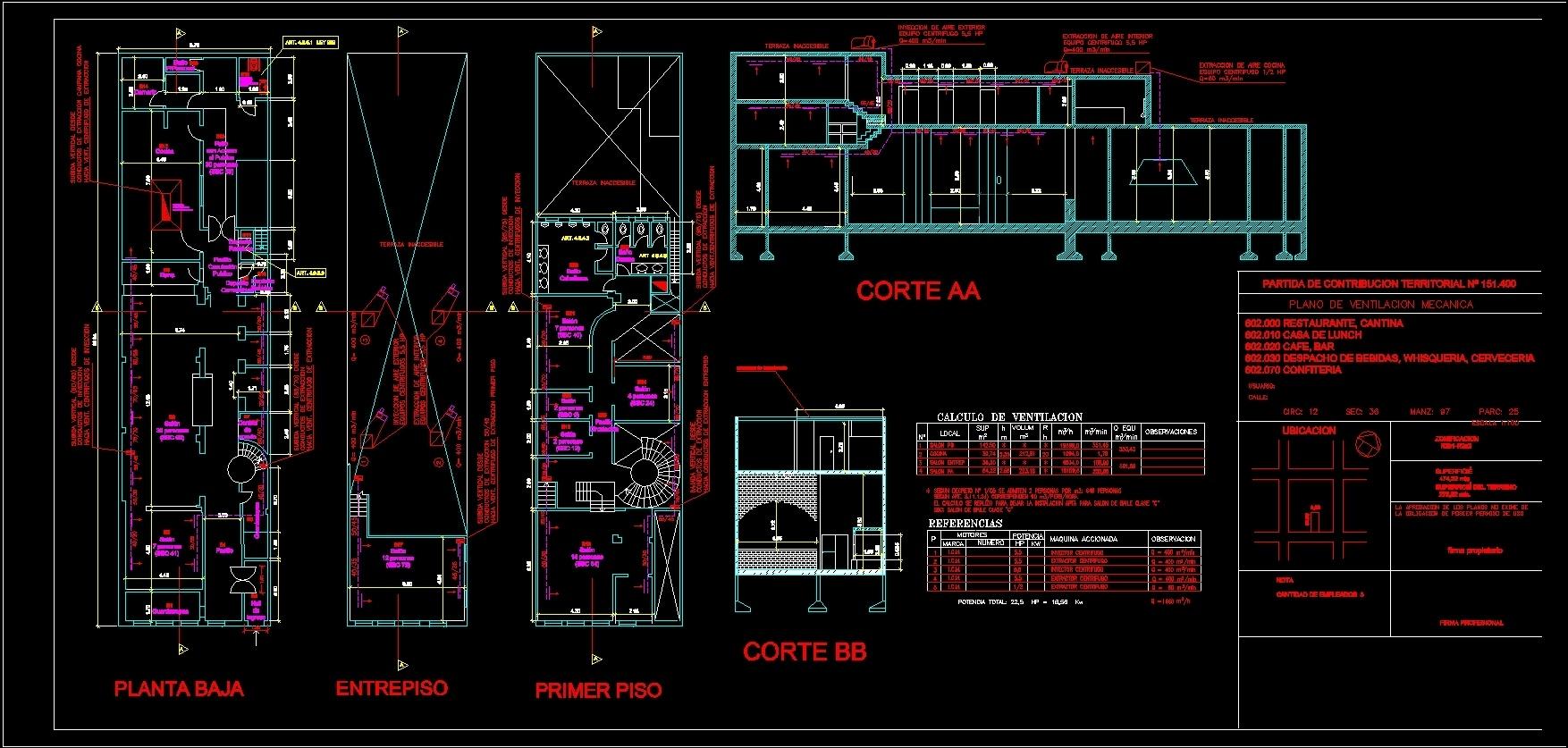 Electromechanical Ventilation Plane Dwg Block For Autocad