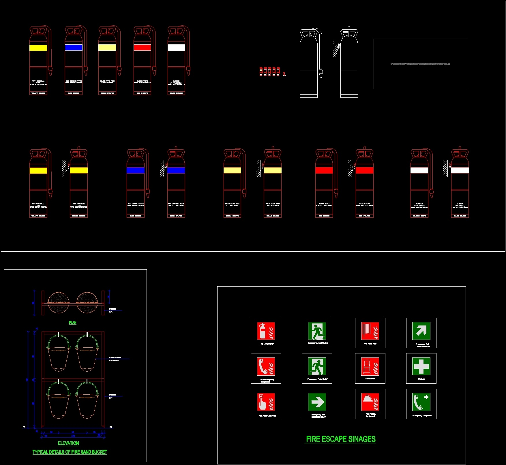 Fire Extinguishers Fire Bucket Dwg Block For Autocad