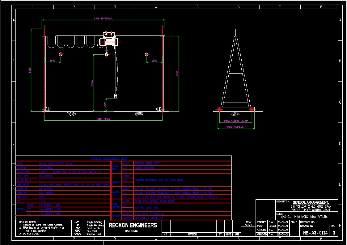Overhead Crane Autocad Drawing : Gantry crane dwg block for autocad designs cad