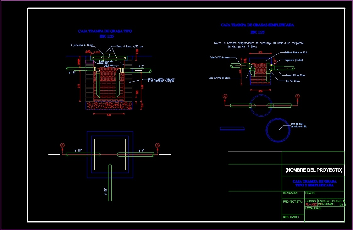 Grease Trap Box Dwg Section For Autocad Designs Cad
