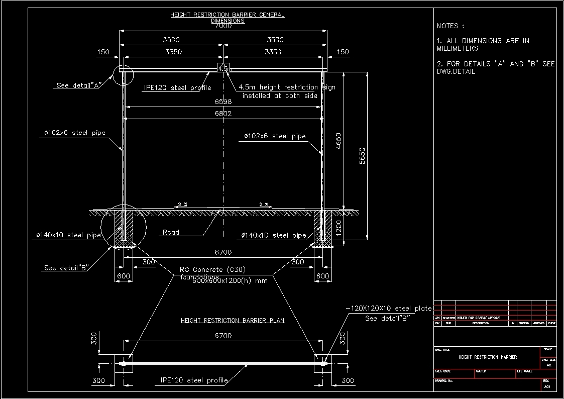 Height Restriction Barrier Hrb Dwg Block For Autocad