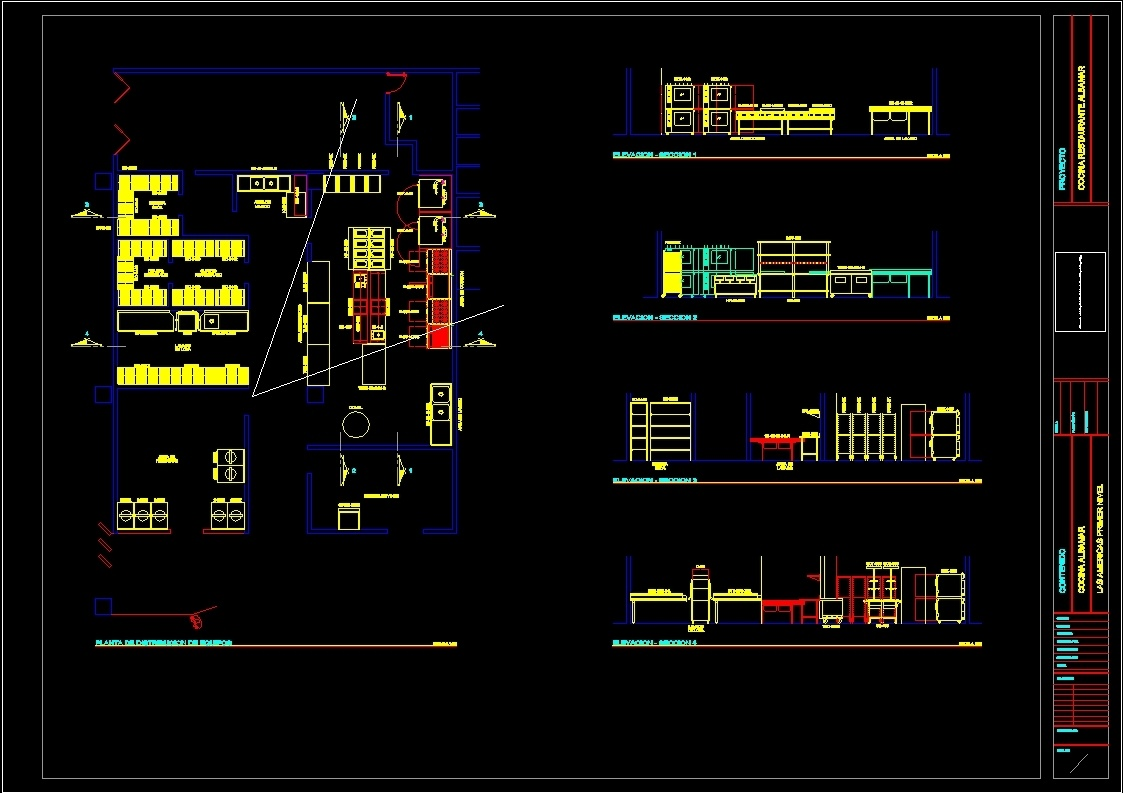 Industrial Kitchen Layout And Furnishings Dwg Block For Autocad