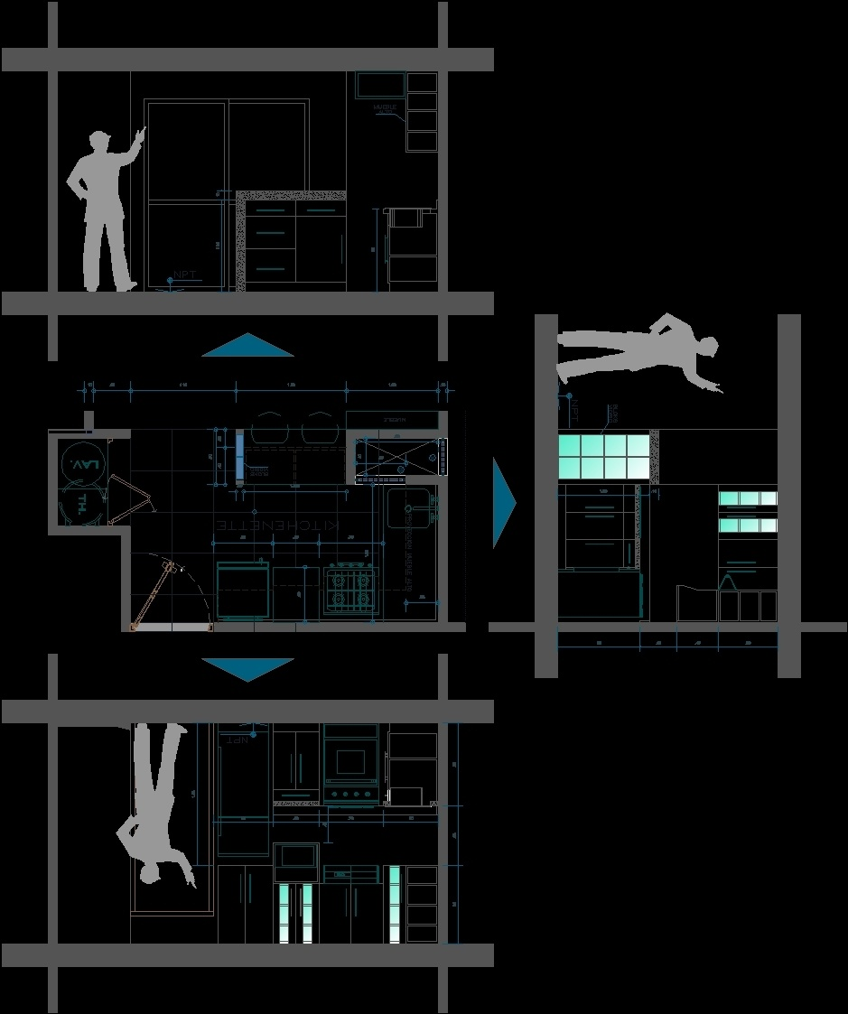 Kitchenette Detail Dwg Detail For Autocad Designs Cad # Muebles Para Kichinet