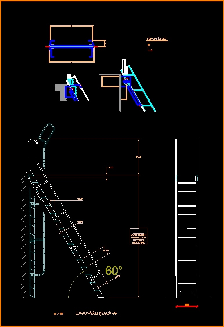 Autocad 3d House Design Software: Ladder For Roof Access 2D DWG Elevation For AutoCAD