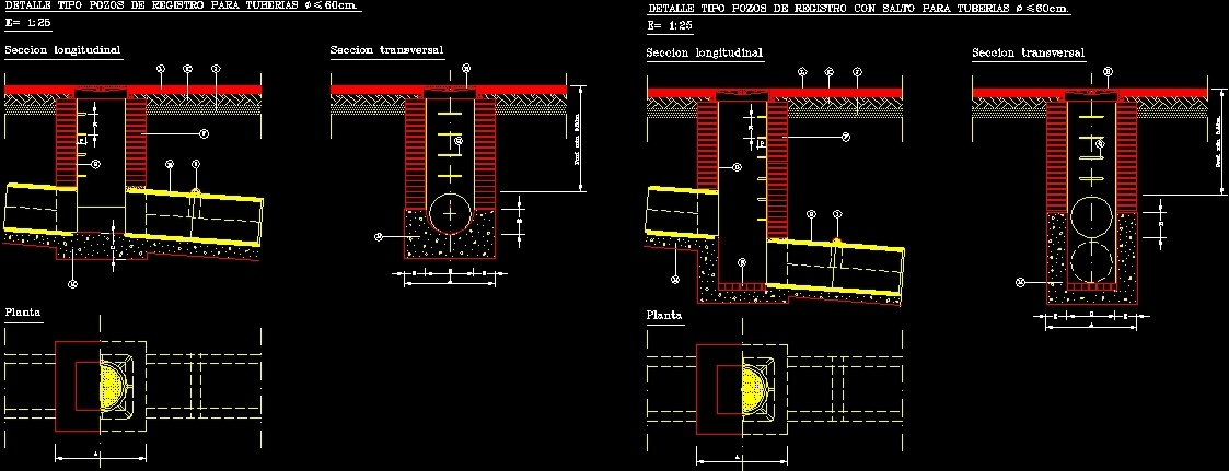 Manhole For Pipes Of Pluvial Drain Dwg Model For Autocad