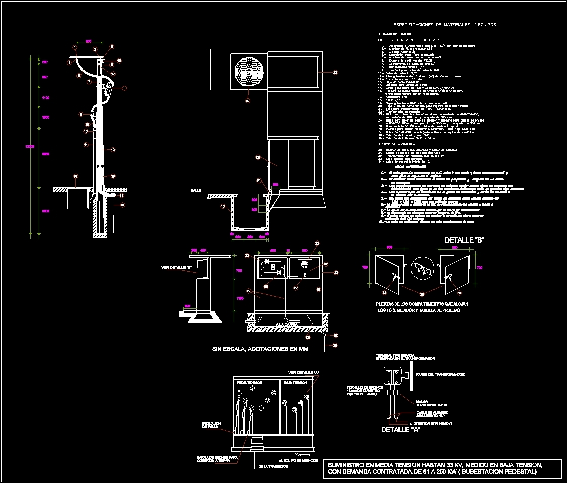 Media Tension Electrical Substation Dwg Detail For Autocad