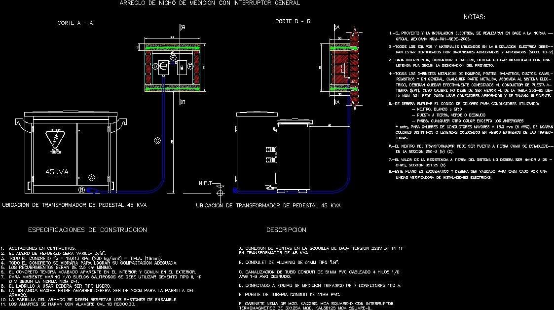 Metering Box Re Transforer 45kva Dwg Block For Autocad