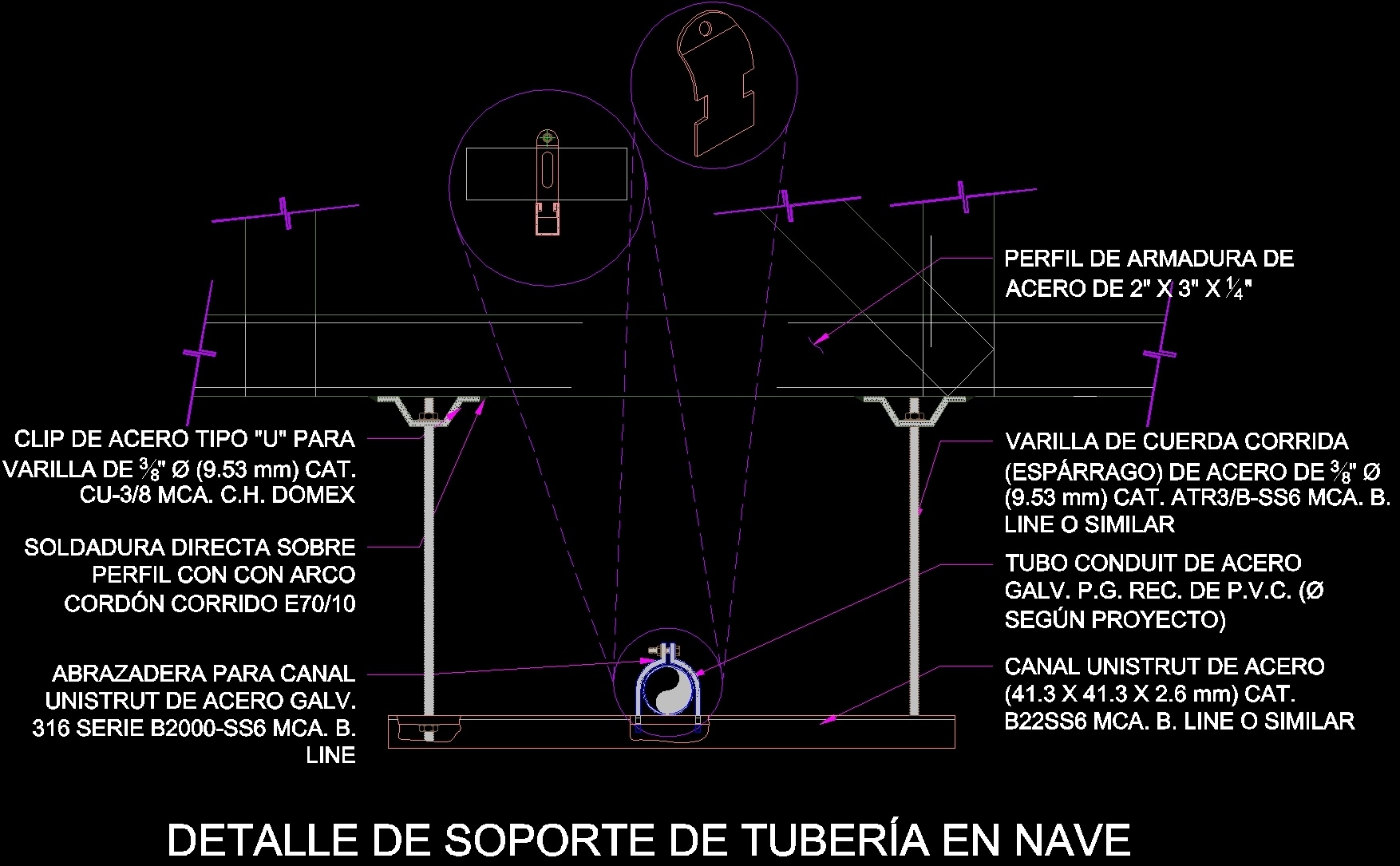 Pipe Support Detail Electric DWG Detail for AutoCAD Designs CAD
