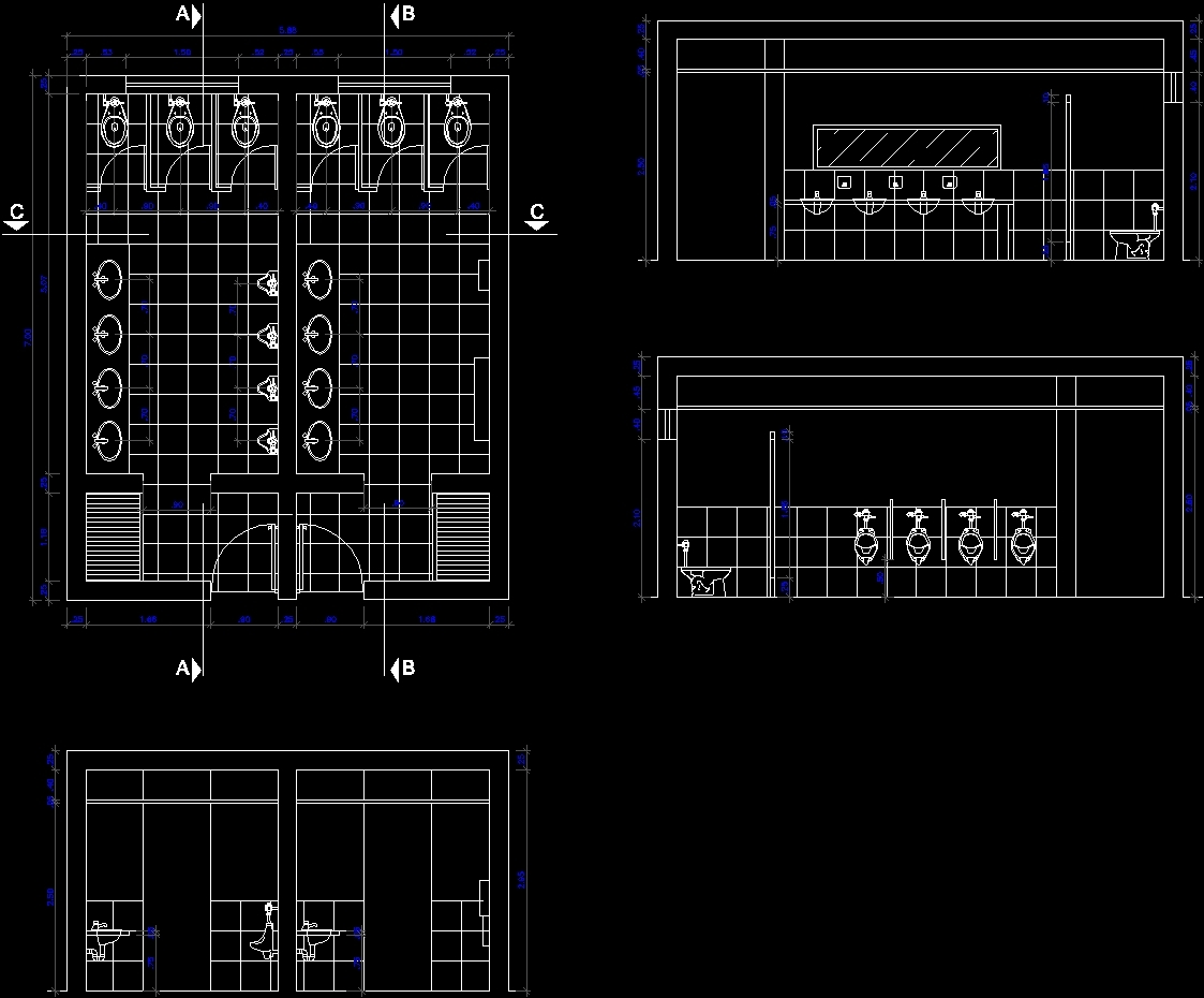 Public Toilet Design Dwg Section For Autocad Designs Cad