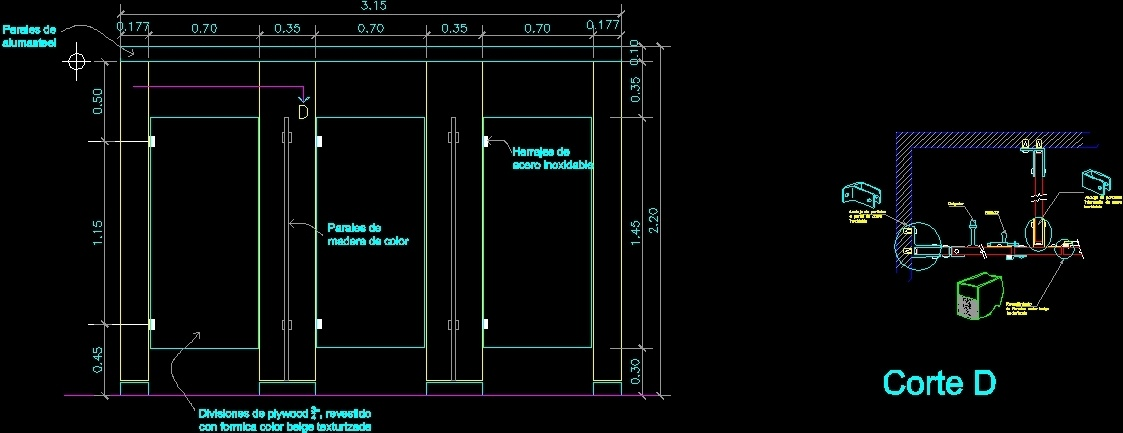 Restroom Partitions Dwg Detail For Autocad Designs Cad