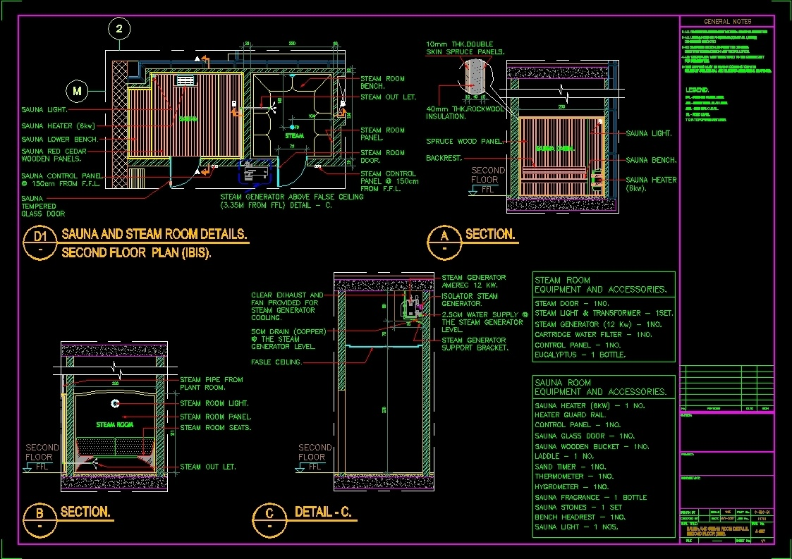 Sauna And Steam Room Details Dwg Detail For Autocad